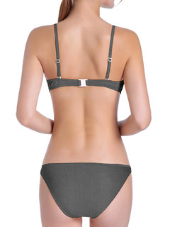 Solid Color Comfortable String Triangle Bikini Swimwear For Women