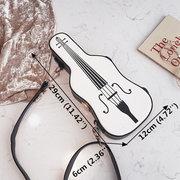 Women Contrast Violin Shoulder Bag PU Leather Crossbody Bag
