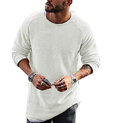 Mens Knit Sweater Solid Color Long-Sleeved O-Neck Regular Fit Casual T-shirt