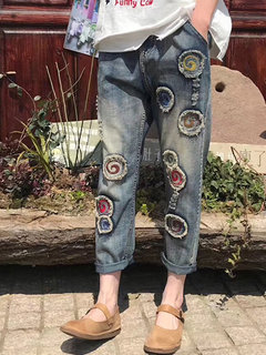 Retro Patch Distressed elastische Taille Loose Denim