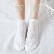 Women Summer Mesh Middle Tube Socks Breathable Cotton Hollowed-out Socks