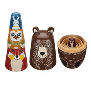 5 Nesting Dolls Wooden Animal Russian Doll Toy Decor Kid Gift