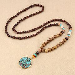 Ethnische blaue Perlen Halskette lange Stil Anhänger Halskette für Damen Männer