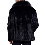 Mens Winter Warm Faux Fur Coat Mid Length Thick Warm Jacket