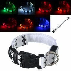 Dog LED Personalised Collar Polyester Pet Light-up Flashing Glow Safety S M L XL