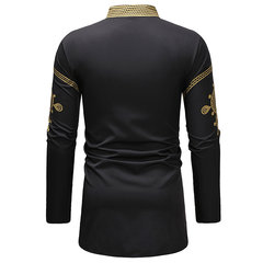 Mens National Style Printing Mid Long Loose Fit Long Sleeve Casual T shirt