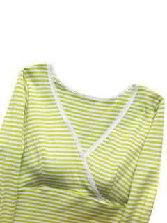 Striped Cotton Maternity Tops Nursery Breast-feeding Maternity Clothes Underwear Built In Cup Padded
