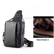 Casual PU Leather Chest Bag Contracted Crossbody Bag Shoulder Bag For Men