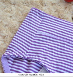 Coton Striped Dots Physiological Briefs Leakproof Menstrual Period Underwear For Women