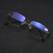 Halbes Metall Rim Multi Focus Progressive Lesebrille Presbyopia Glasses Eye Health Care