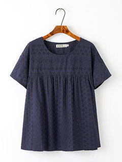 Casual Hollow Out Ruffle Short Sleeve Plus Size Blouse