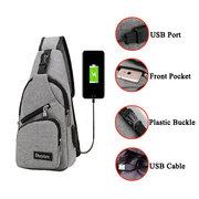 Canvas USB Rechargeable Chest Bag Backpack Korean Casual Shoulder Messenger Bag For Men