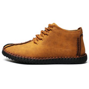 Menico Men Hand Stitching Leather Non-slip Soft Sole Warm Casual Boots
