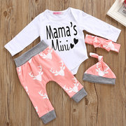 4Pcs Printed Girls Romper Pants Clothing Set For 0-24 Months