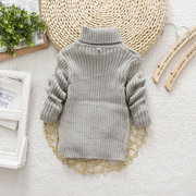 Solid Color Girls Turtleneck Sweater Kids Knitwear For 2Y-11Y