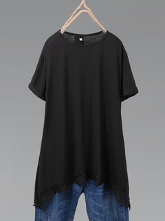 T-shirt casual manica corta patchwork in pizzo