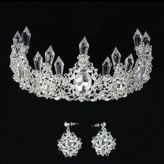 Элегантный комплект Волосы серьги ручной работы белый кристалл Свадебное тиара корона для невесты