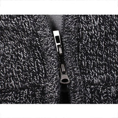 Mens Knit Hooded Thickened Warm Long-Sleeved Zip Up Fashion Casual Jacket