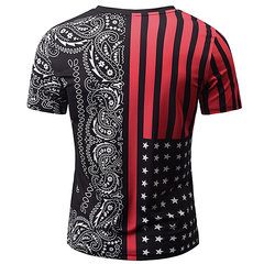 Mens Fashion 3D Printed Cashew Pattern Short Sleeve V-Neck Casual T-Shirt