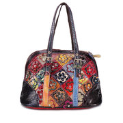 Women Floral Bohemian Genuine Leather Handbags Shell Large Capacity Crossbody Bags