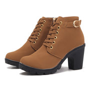 Chunky Heel Lace Up Casual Ankle Boots