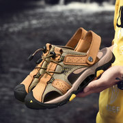 Men Outdoor Anti-collision Toe Non Slip Soft Leather Hiking Sandals