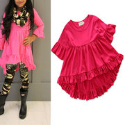 Solid Color Toddler Girls Kids Short Sleeve Ruffle Irregular Shirt Tops For 1Y-7Y