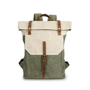 Genuine Leather Canvas Retro Waterproof Backpack Casual Travel Bags For Men Women