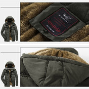 Mens Thicken Warm Multi Pockets Windproof Detachable Hooded Jacket