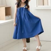 Vestido de deslizamento da sarja de Nimes da correia das meninas da cor contínua por 4-15Years