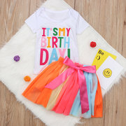 2Pcs Toddlers Girls Colorful Lettera Tops Camicia + Gonna in Pizzo Per Bambini Compleanni Abiti Set Per 1Y-9Y