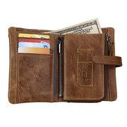 RFID antimagnético retro Piel Genuina con cremallera extraíble bolsillo billetera tríptico para hombres