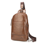 PU Leather Chest Bag With Earphone Hole Casual Vintage Single-shoulder Crossbody Bag For Men