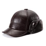 Men Cowhide Genuine Leather Baseball Cap Earflaps Earmuff Bomber Velvet Linen Hat