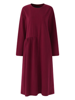O-NEWE Casual Mulheres Sólidos de manga comprida Ruffle Knit Dress