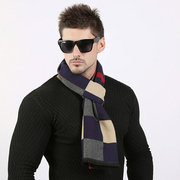 Men's Brushed Lattice Luxury Business Casual Scarf Thick Wool Scarves Imitation Cashmere Wrap Shawls