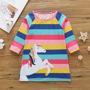 Pferd Print Girls Langarm gestreift Kleid Für 2J-11J