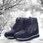 Waterproof Lace Up Ankle Warm Fur Lining Flat Boots