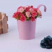 10PCS 10 cores moda metal ferro flor pote suspenso sacada jardim planta planter decoração do lar