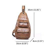 Genuine Leather Chest Bag Vintage Crossbody Bag Nubuck Shoulder Bag For Men