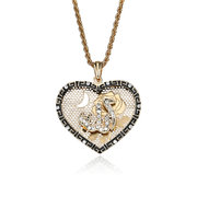 Islam Allah Heart Pendant Necklace Religious Muslim Jewelry for Men Women
