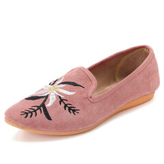 Almond Toe Suede Embroidered Lazy Casual Loafers