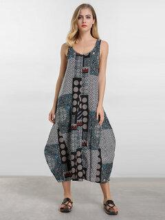 O-نيوي خمر مطبوعة أكمام فانوس فستان ماكسي للنساء