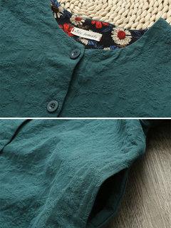 Button Floral Patchwork Long Sleeve Women Vintage Kimonos