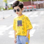 Детская одежда Новые Детская футболка в моделях Big Boy Модные портреты для мальчиков Красивый прилив с короткими рукавами