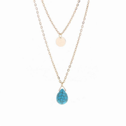 Bohemian Multilayer Necklace Paillette Turquoise Pendant Chain Necklace Fashion Jewelry for Women