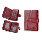 Genuine Leather Vintage Small Short Wallet Card Holder Purse For Women
