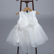 2Pcs Lace Flower Girls Tulle Dress with Hat For 0-24M