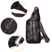 Mens Black Peito Pack PU Crossbody Bolsa Sling Bolsa