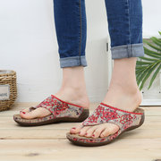 LOSTISY Clip Toe Colorful Flip Flops Stitching Beach Casual Sandals